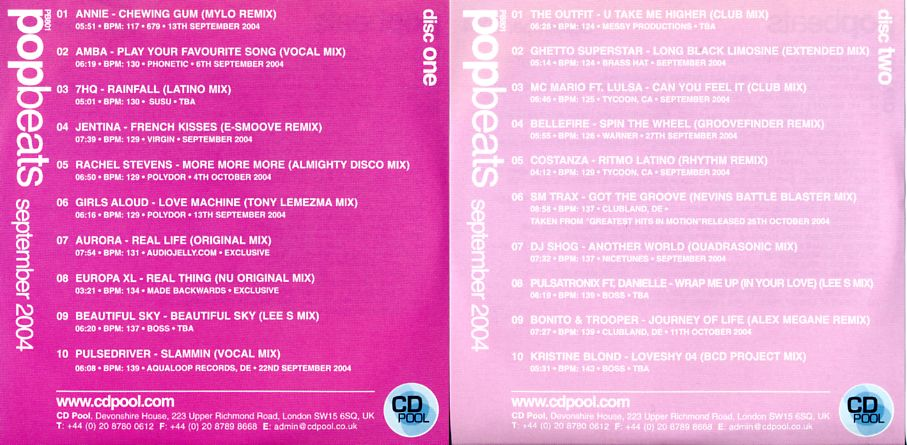 CD Pool Series Pop Beats Sep 2004