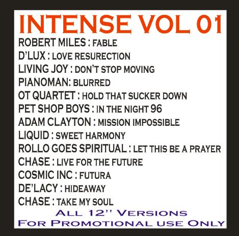 Intense Promo Service CD Vol 01: BACKUP CD